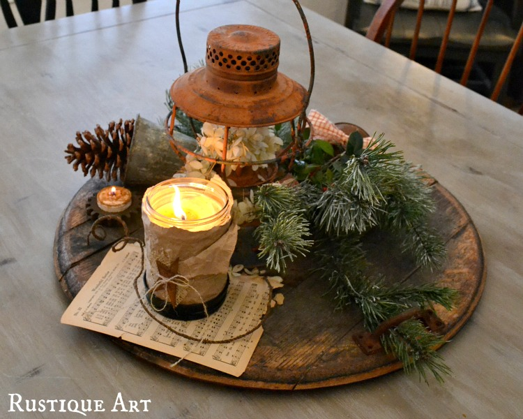 spruce up pillar candles by rolling it in epsom salt using modge podge to make it stick adding twine and a rustic ornament - Rustic Christmas Table Decorations