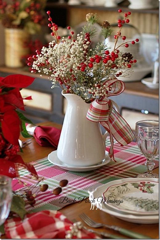 Ceramic Pitcher & Rustic Christmas Table Centerpieces - Harbor Farm Wreaths