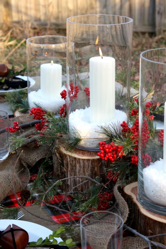 candles and holly berries - Rustic Christmas Table Decorations